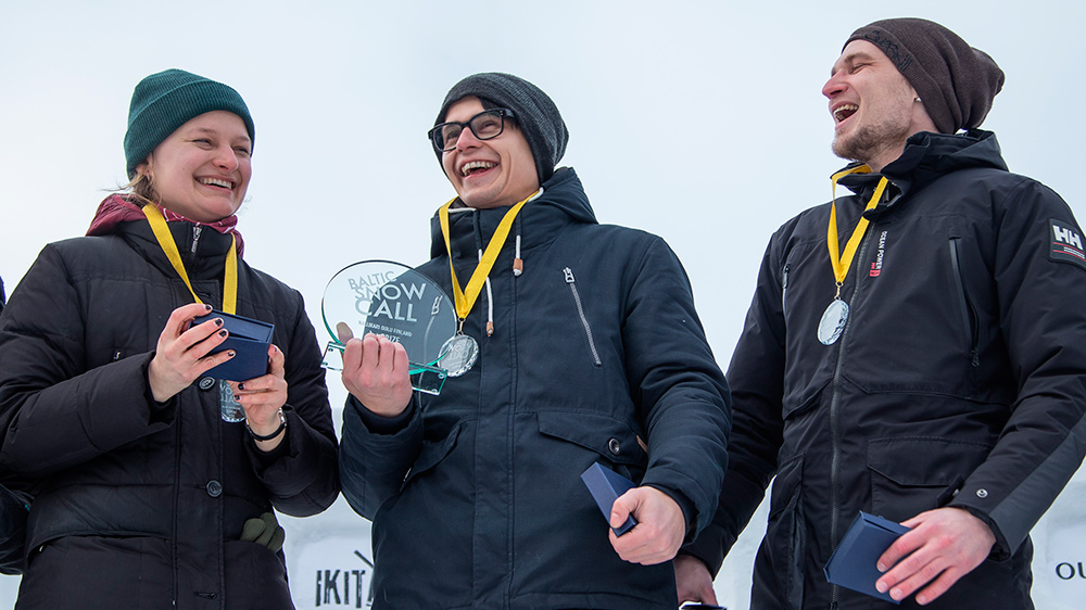 TEAM RUSSIA: Svetlana Tutanova, Aleksei Moskalev, Mikhail Erushev won the very first Baltic Snow Call contest! Photo by Elisey Kuziakin.